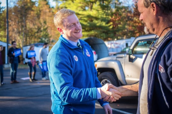 State Sen. Dan Feltes greets voters outside Concord's Ward 8 polling place on Election Day, Tuesday, Nov. 8, 2016. (ELIZABETH FRANTZ / Monitor staff)
